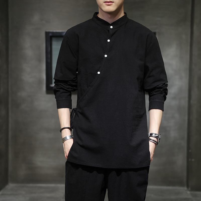2021中国风春款棉麻长袖T恤男社会精神小伙衬衣QT6005-CS88-P50