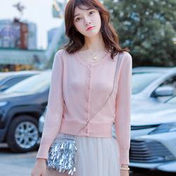 春秋搭配裙子短款薄款针织开衫女外搭高腰小个子外穿毛衣外套洋气