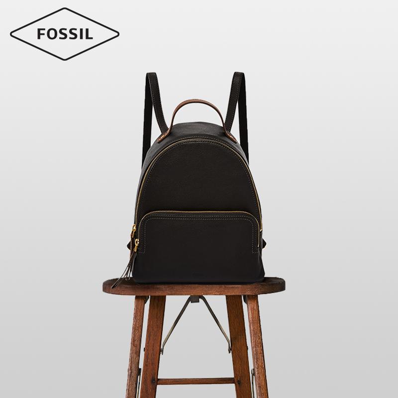 Fossil化石正品大容量书包简约复古学院风大学生真皮双肩背包女