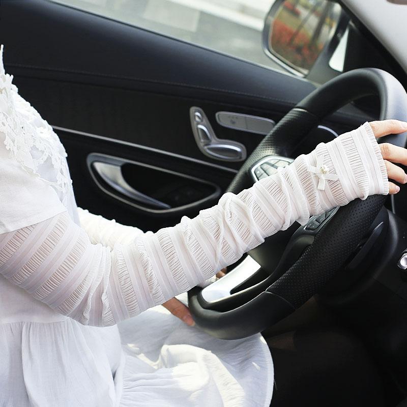 Лето женский Манжета для рук из шелка из холодного шелка длинный фасон Кружевной автомобиль без пальцев перчатки Ультрафиолетовая манжета