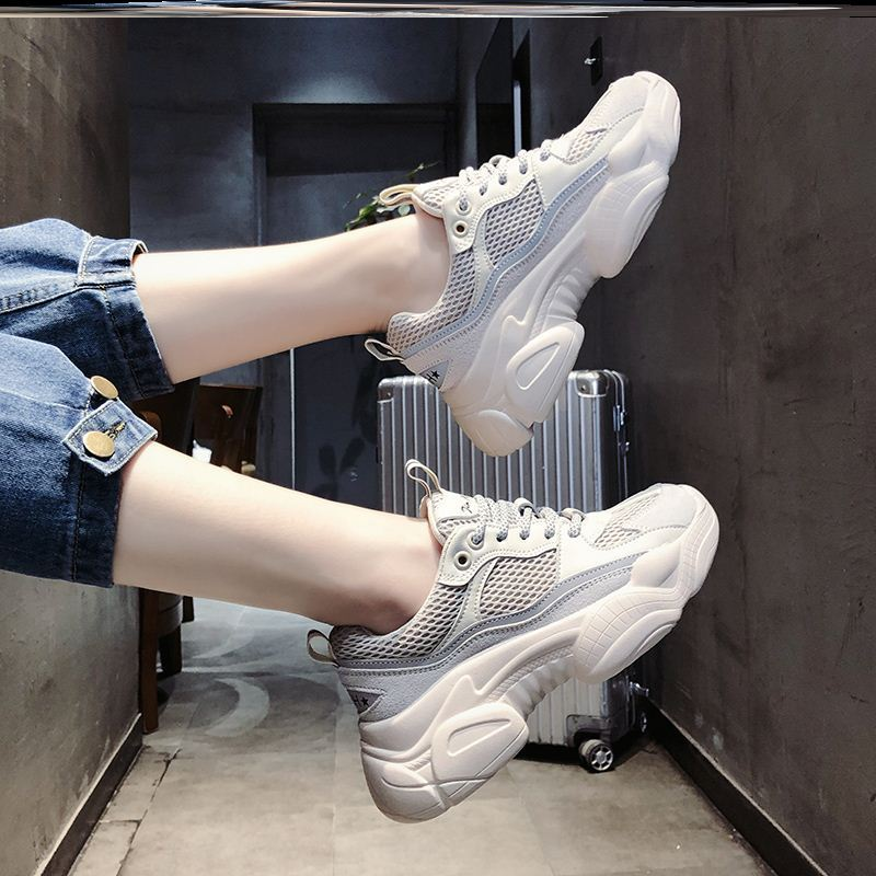 2020 dad shoes womens shoes mesh low top thick bottom couple mesh trend show feet small Korean work shoes chic