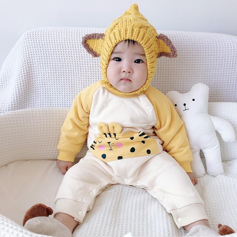 韩版网红男女宝宝卡通加绒哈衣加厚保暖秋冬服婴儿爬服ins风外出图片