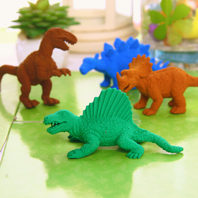 恐龍盒裝橡皮韓國文具創意可愛卡通小動物橡皮擦兒童獎品學生禮品