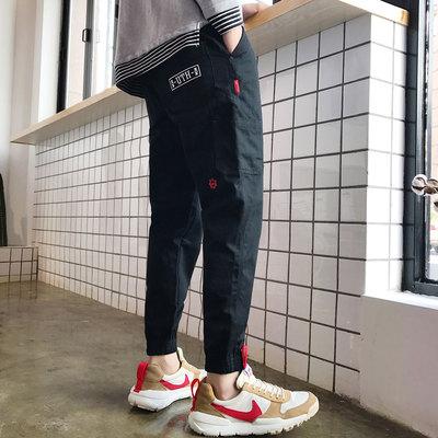 2017秋港风男士多口袋绣标收口休闲裤哈伦裤工装裤 黑色K61-p60