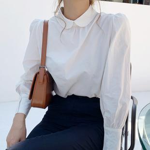 韓國代購chic小眾娃娃領後背單排扣設計寬鬆純色泡泡袖襯衫女
