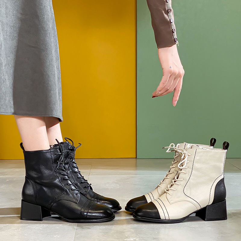 New British style thick heel mid heel lace up womens boots thick soled Leather Mid tube Martin boots
