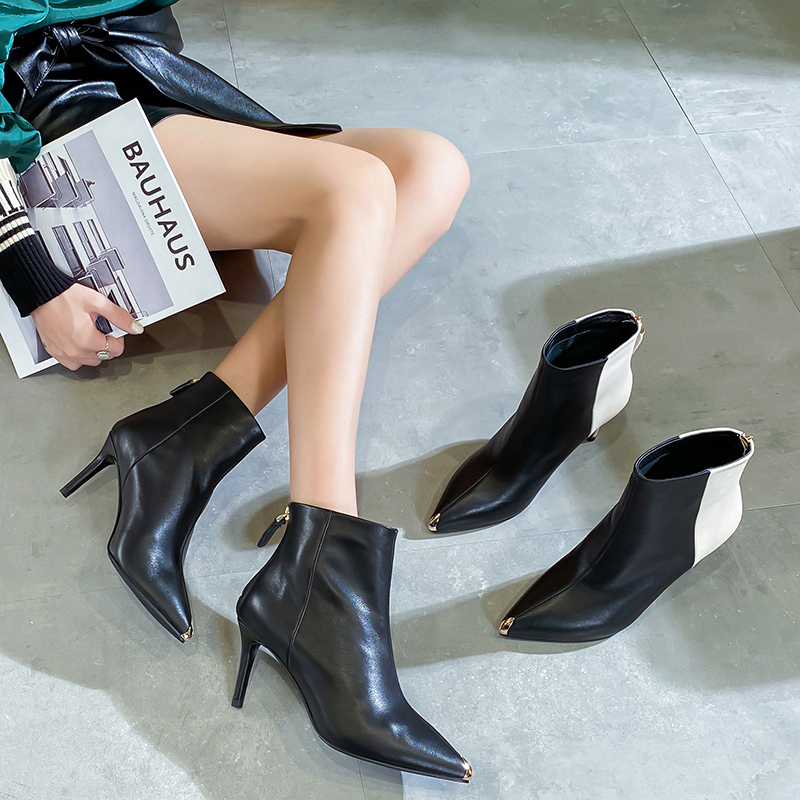 Spring and autumn 2020 new black metal pointed thin heel leather short boots high heels single boot sexy versatile thin boots