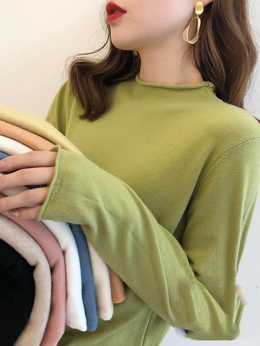 牛油果绿毛衣女秋冬季内搭半高领打底衫宽松显瘦外穿套头针织衫潮