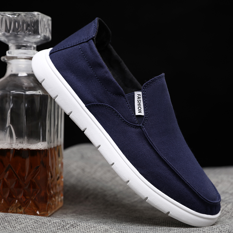 Old Beijing cloth shoes mens blue one foot pedal spring and autumn new mens ultra light summer low top board shoes canvas shoes men