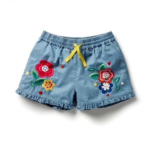 女童绣花牛仔短裤2020夏装新款儿童牛仔热裤女宝宝小童民族风裤子