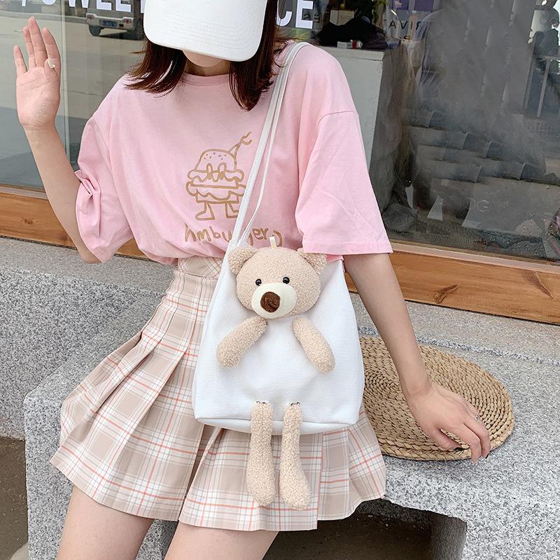 中國代購 中國批發-ibuy99 女包 夏天小熊包包2020新款潮网红时尚帆布包女单肩腋下包百搭手提女包