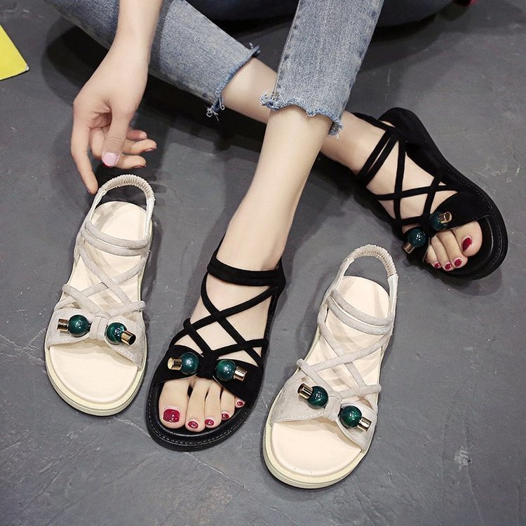 Sandals womens ins fashion 2020 new summer versatile fashion net red one line buckle low heel flat bottom womens shoes open toe