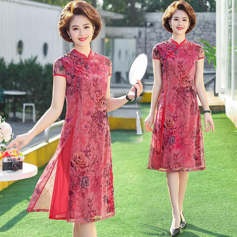 妈妈夏装婚礼雪纺连衣裙40-50岁中年妇女短袖大码洋气改良旗袍裙