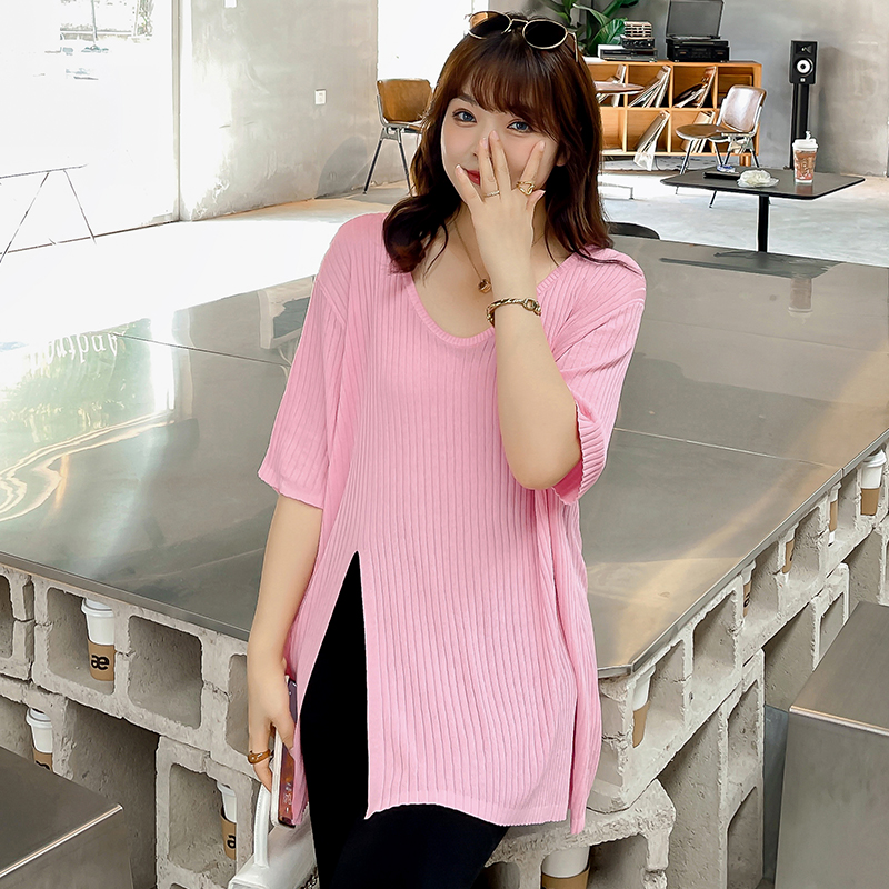 Large split summer t-shirt female fat mm cover belly show thin large reduced age fried Street top summer loose V-neck fashion