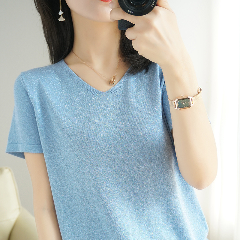 Slim short sleeve T-shirt for womens meat cover summer 2020 top popular versatile V-neck ice silk sweater loose thin