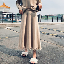 Large A-line skirt fat mm high waist knitted skirt half length women's medium length thickened skirt suitable for hip and thigh thick winter