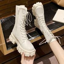 白色马丁靴女2020新款加绒绑带潮靴增高厚底中筒靴百搭圆头女靴子