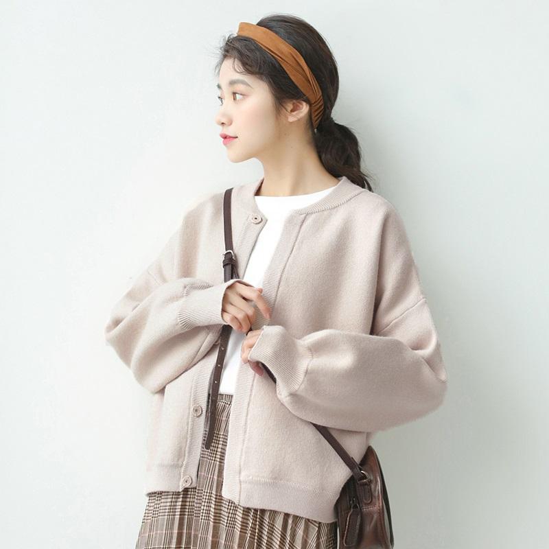 早秋新款韩版学院风纯色短款针织开衫文艺复古毛衣外套棒球服女潮