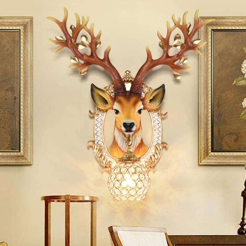 欧式鹿头壁灯创意客厅卧室过道走廊北欧复古背景墙壁挂装饰品灯具