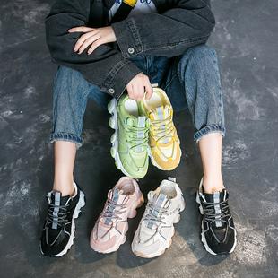 学生跑步鞋 厚底松糕鞋 女鞋 老爹鞋 新款 女韩版 女百搭运动鞋 2020春季