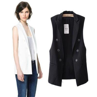 Special price 20 spring show thin, simple and loose, medium and long, versatile, solid color lapel, sleeveless suit, vest, womens coat