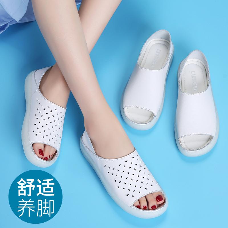 新款护士鞋镂空真皮鱼嘴软底防水台白色两穿女平底妈妈鞋休闲凉鞋