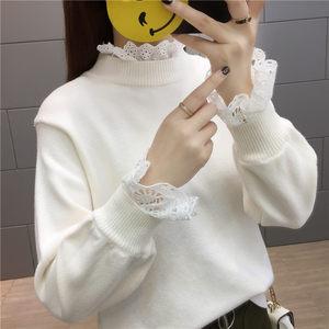 秋裝新款學院風假兩件毛衣蕾絲袖拼接寬松套頭針織衫短款打底女裝