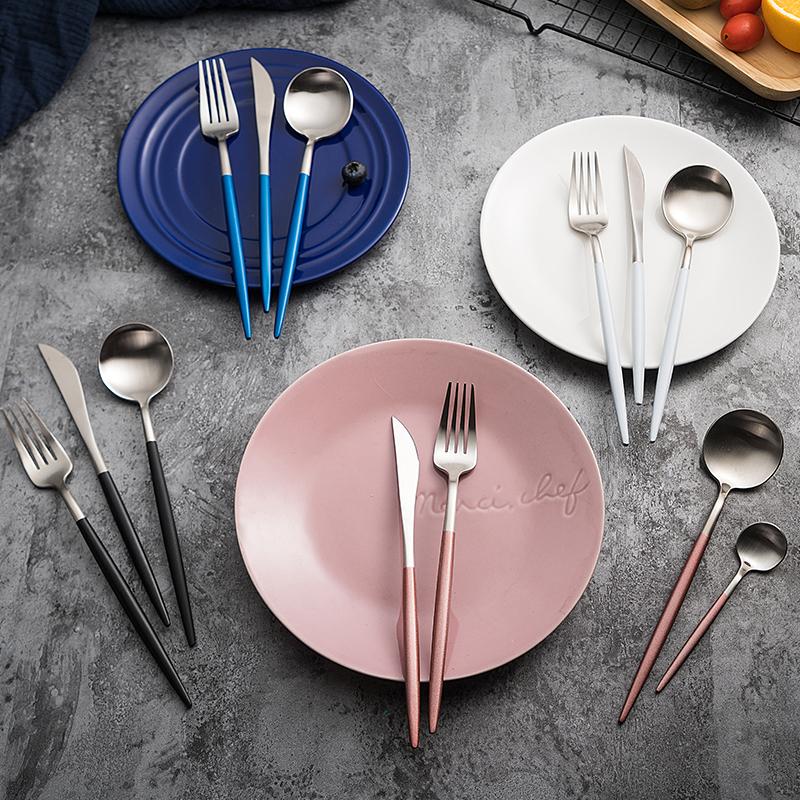 304不锈钢葡萄牙网红刀叉勺家用西餐具两三件套装北欧牛排刀叉子