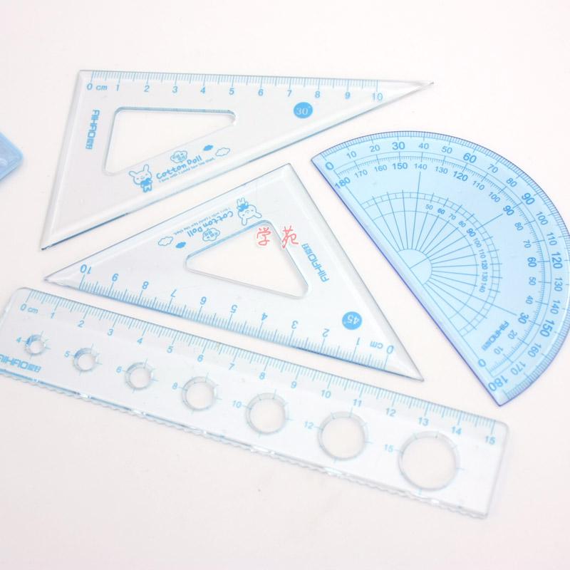 爱好LB0044布绒娃娃套尺 四件套 含2只三角板 1只量角器 1根直尺