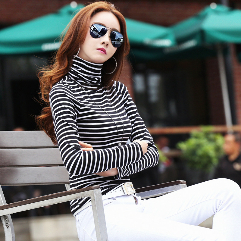 Black and white striped high collar bottomed shirt for women autumn winter 2020 new long sleeve T-shirt with plush pile collar