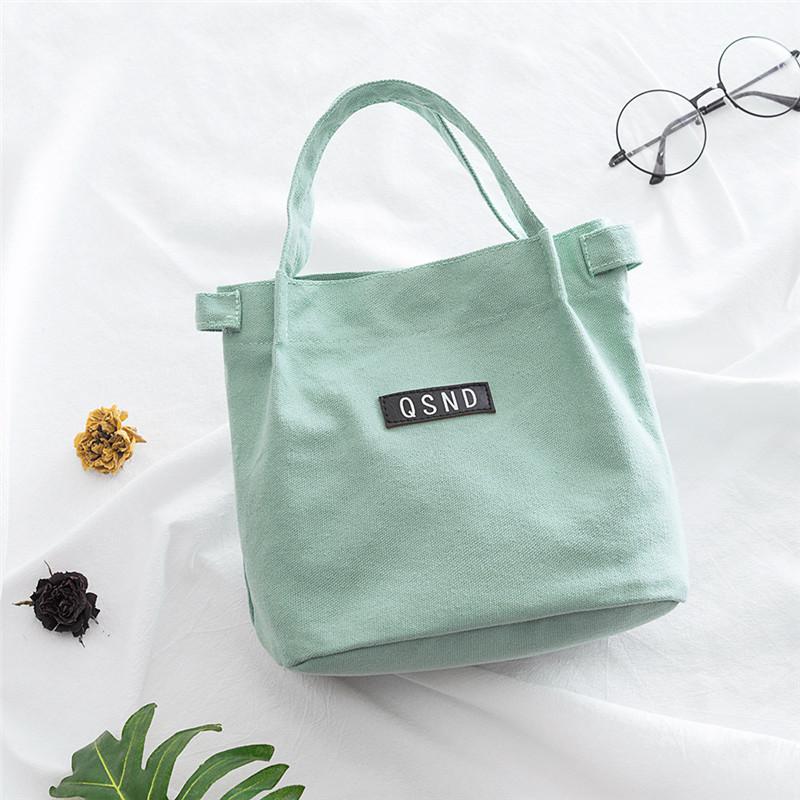 小清新女士单肩手提包帆布便当包多功能购物袋水桶包童饭盒袋
