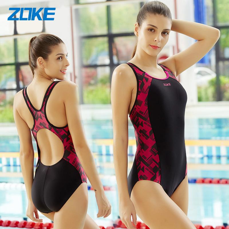 ZOKE洲克三角时尚运动舒适运动健身女式三角连体专业竞技女泳衣