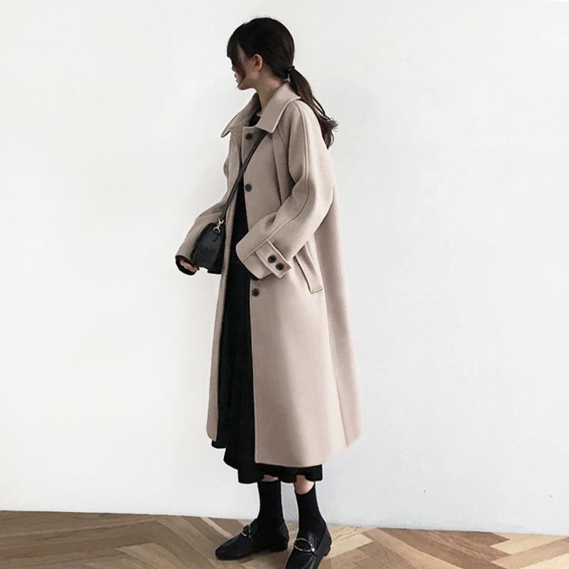 燕麦色毛呢外套女中长款2018冬季新款韩版加厚学院风过膝呢子大衣
