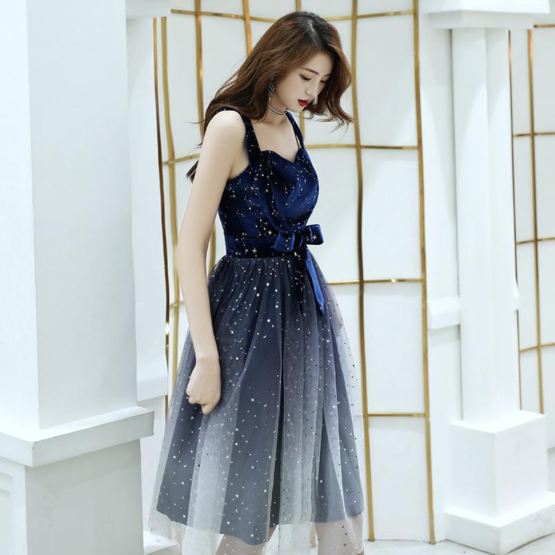 小女平时可穿伴娘星空渐变晚礼服五折促销