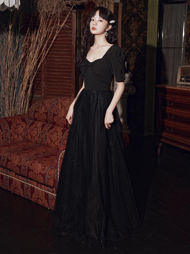 黑色小晚礼服女气质艺考大气高级裙