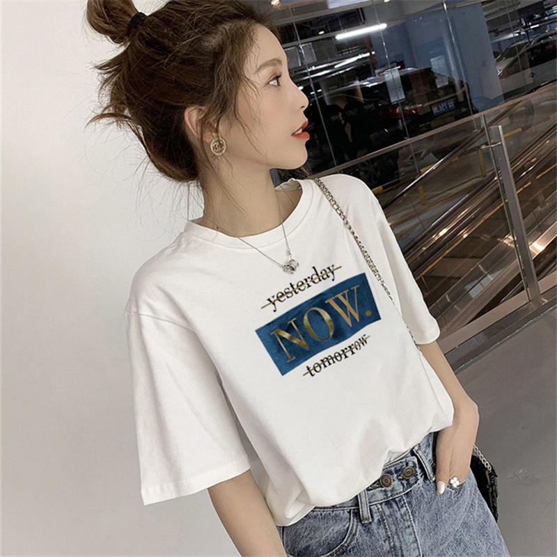 纯棉白色短袖t恤女装2020夏季新款品韩版宽松百搭半袖上衣服ins潮