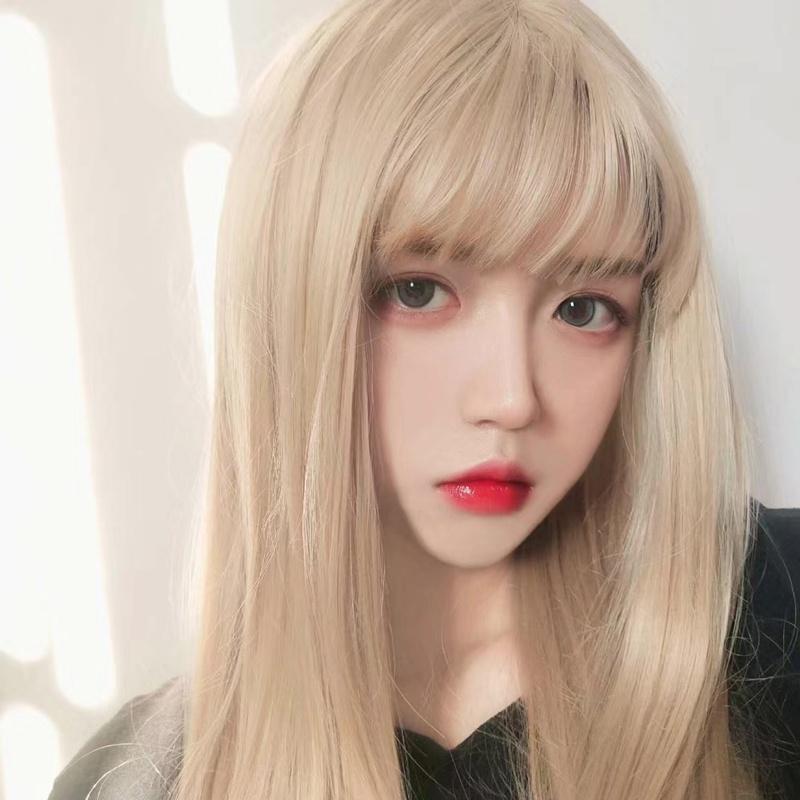 高档显白浅金色假发女团长发自然全头日常金色可爱网红洛丽塔cos