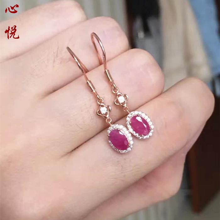 女人最爱925银镀18k金天然缅甸红宝石耳坠女士耳饰百搭包邮