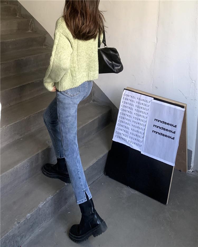 实拍实价~韩系甜酷少女复古版型超好开叉小直筒牛仔裤