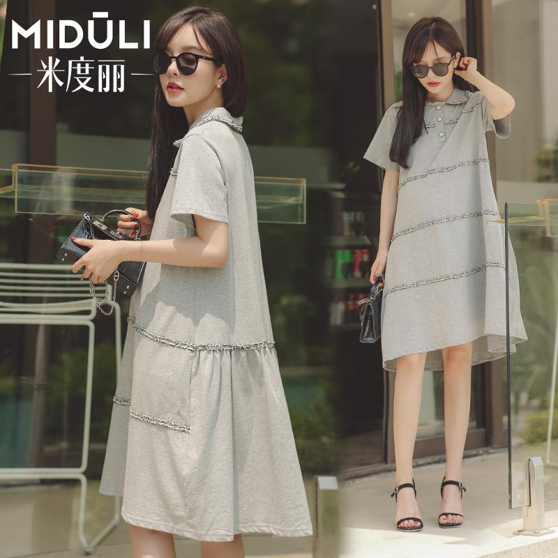 Váy bà bầu mùa hè Váy bà bầu mùa hè ngắn tay giữa thời trang dài phần lỏng lẻo mẹ mùa hè váy búp bê - Áo thai sản