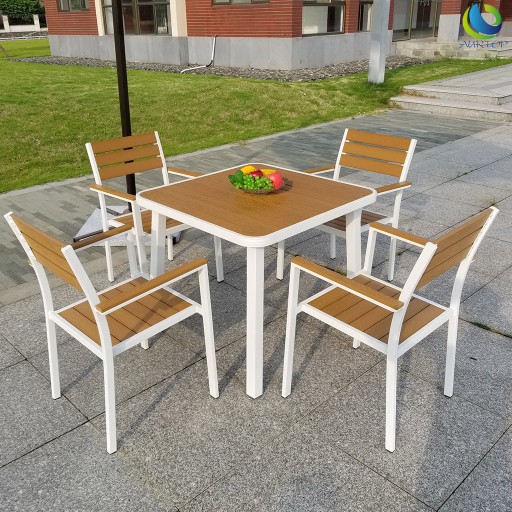 澳朵休闲户外桌椅三件套组合塑木椅室外阳台庭院三件套简约花园
