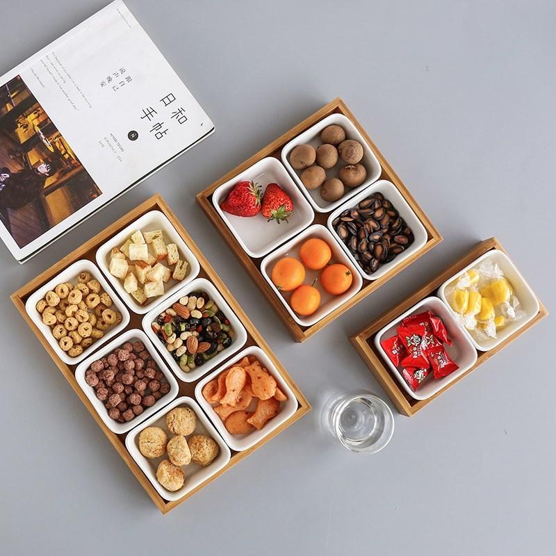 盒子小号茶盘客厅创意木制实木瓜子陶瓷茶具方碟干果盘竹木