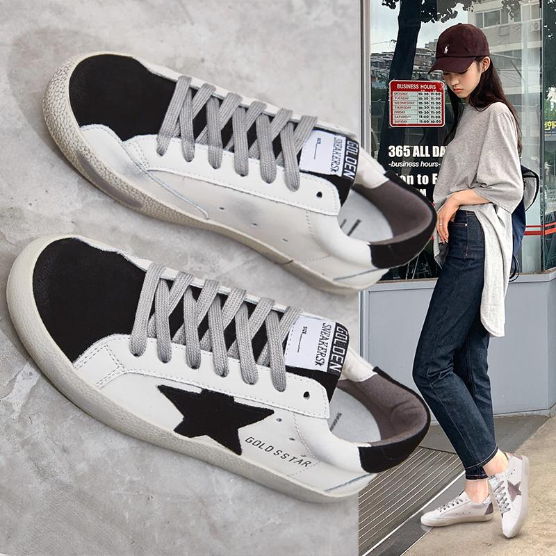 星星小脏鞋复古网红脏脏鞋小白鞋女2020年春季新款软皮面百搭平底