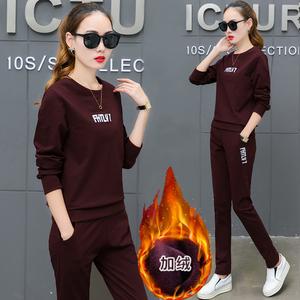 纯棉运动套装女秋冬季2020新款加绒加厚卫衣大码时尚休闲服两件套