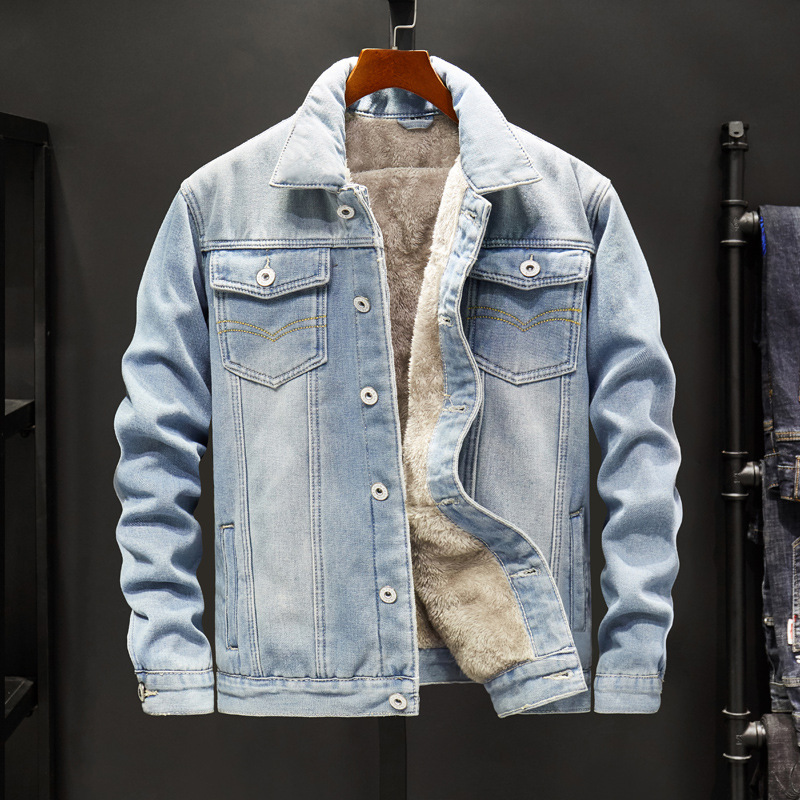 Autumn and Winter Jacket Top 2019 mens middle-aged casual denim coat Long sleeve wear loose large size