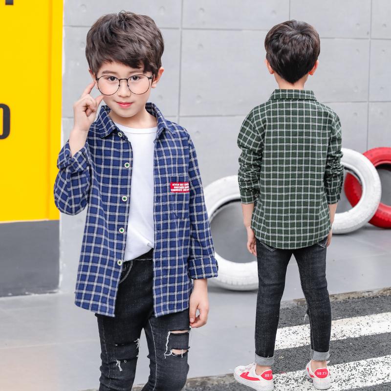 男童格子衬衫长袖2018新款春秋装韩版薄款9-10岁12中大童儿童衬衣