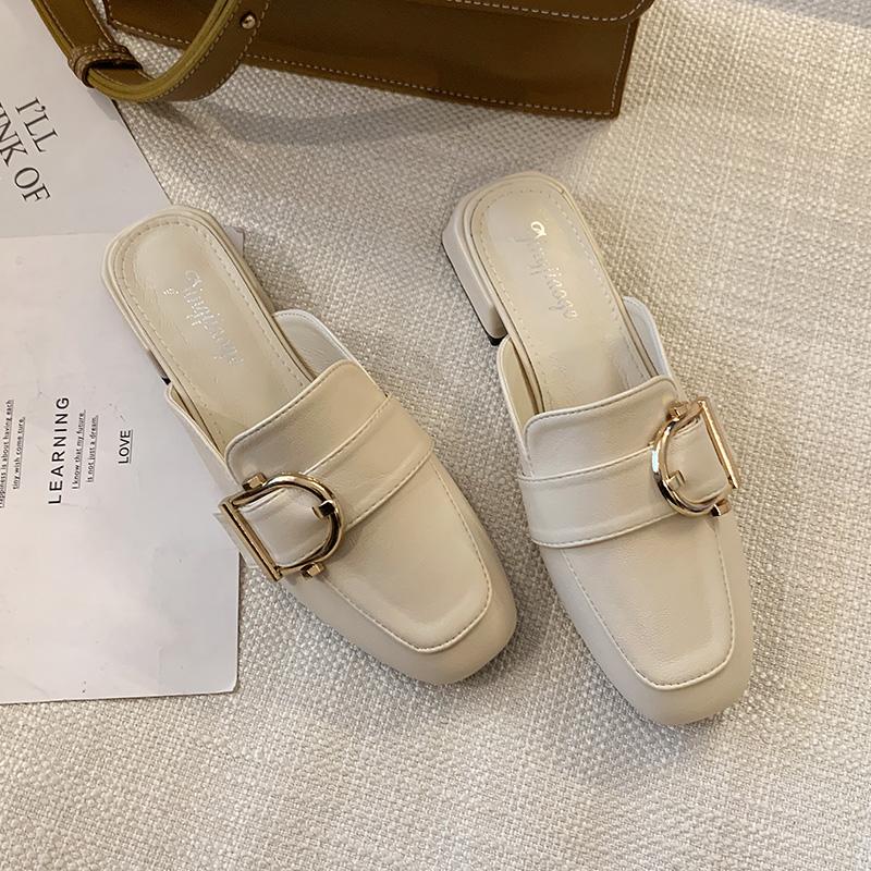气质皮带扣包头半拖鞋女时尚外穿2020春季新款ins潮平底穆勒鞋子