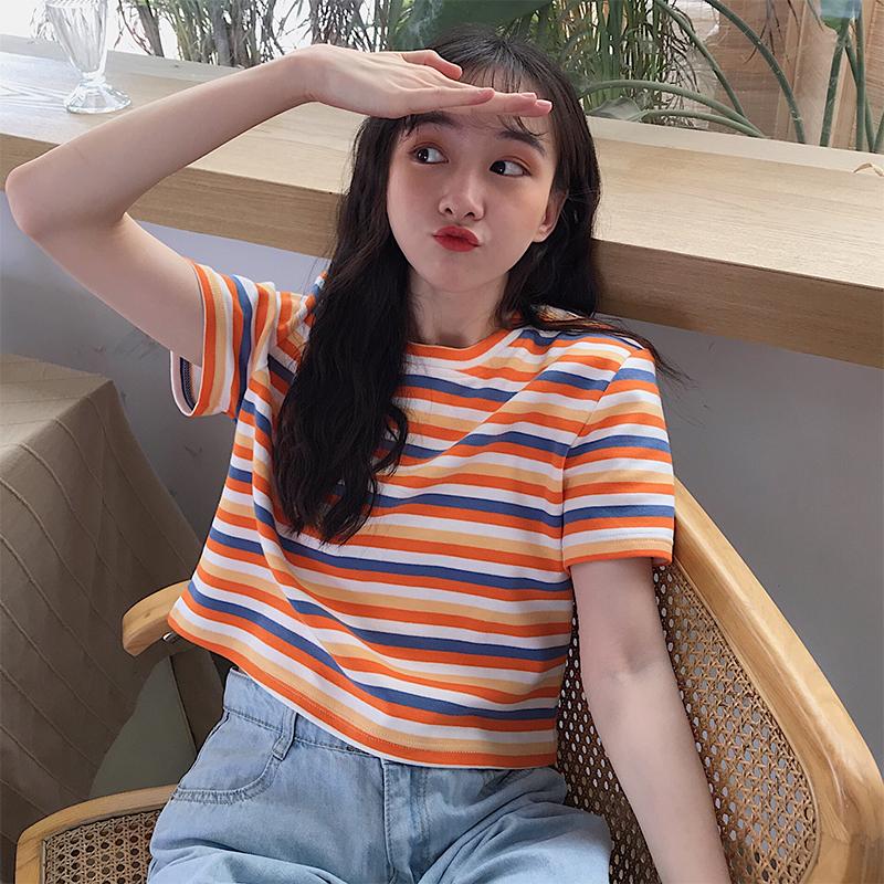 19.90元包邮泫雅风网红彩虹条纹短袖女夏潮t恤