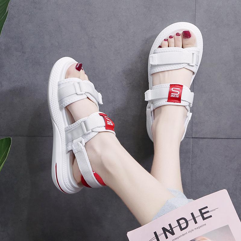 运动凉鞋女仙女风2020新款夏季孕妇百搭平底防滑网红时尚外穿女鞋图片