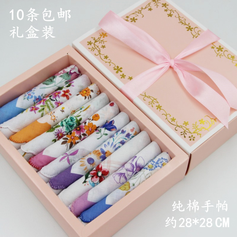 Handkerchief crescent womens lace pure cotton square towel Cotton Handkerchief sweat absorption holiday gift box package